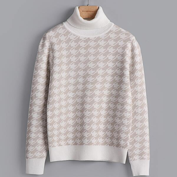 Girls Houndstooth Pattern Turtleneck Sweater, White