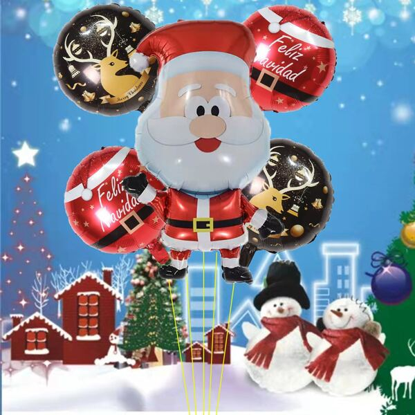 6pcs Christmas Santa Claus Shaped Decorative Balloon Set, Multicolor