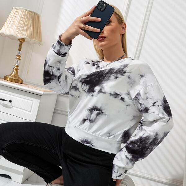 Plus Marble Print Drop Shoulder Sweatshirt, Black and white