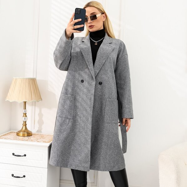 Plus Double Button Lapel Collar Dual Pockets Belted Overcoat, Grey