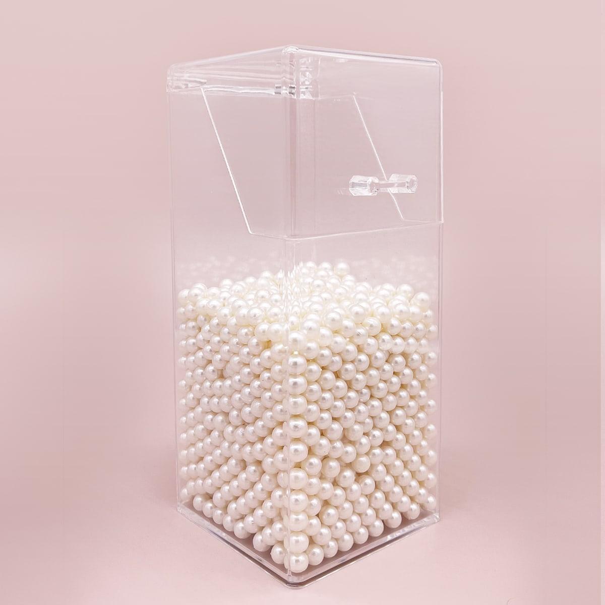 Ящик для хранения кистей для макияжа с с искусственным жемчугом