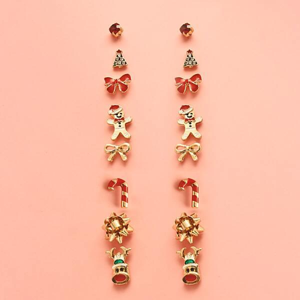 8pairs Deer & Tree Design Stud Earrings, Multicolor