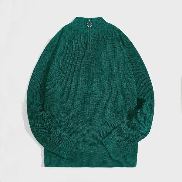 Men Quarter O-ring Zipper Ribbed Knit Sweater, Green