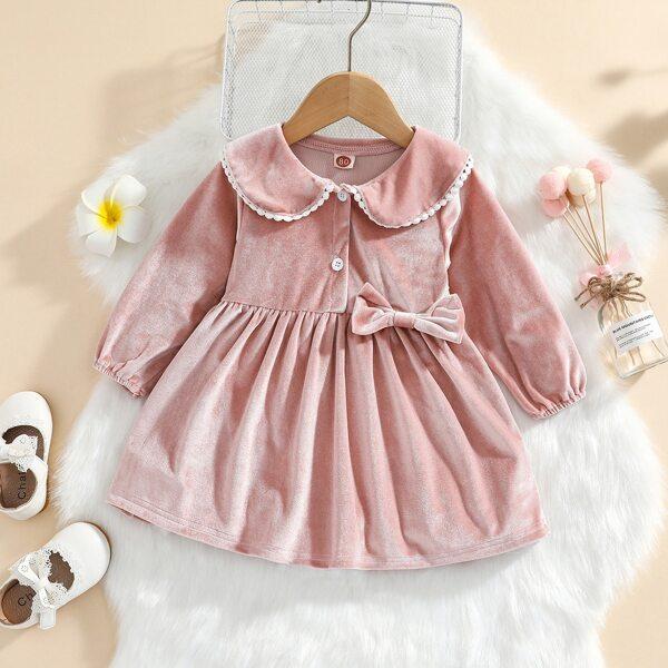 Baby Bow Front Velvet Smock Dress, Dusty pink