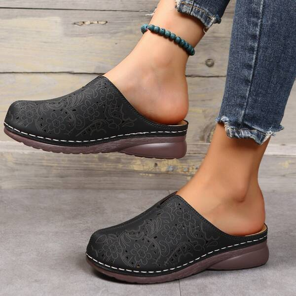Minimalist Hollow Out Wedge Mules, Black