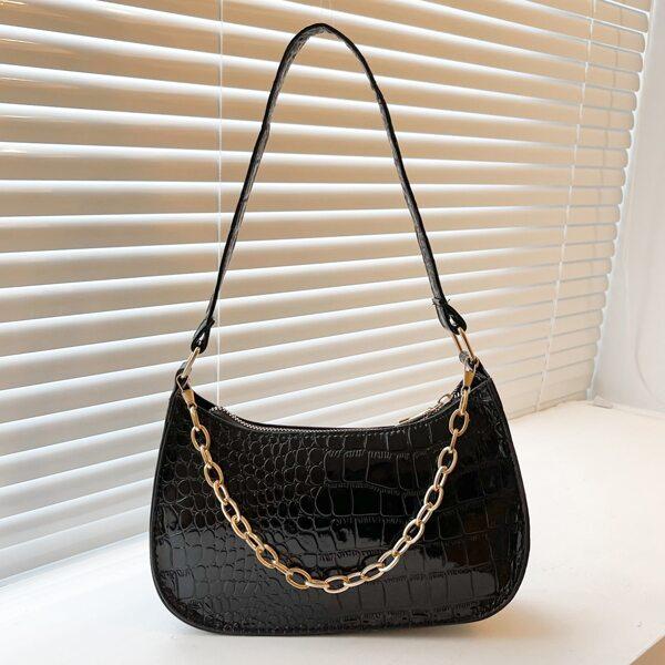 Chain Decor Crocodile Embossed Baguette Bag, Black