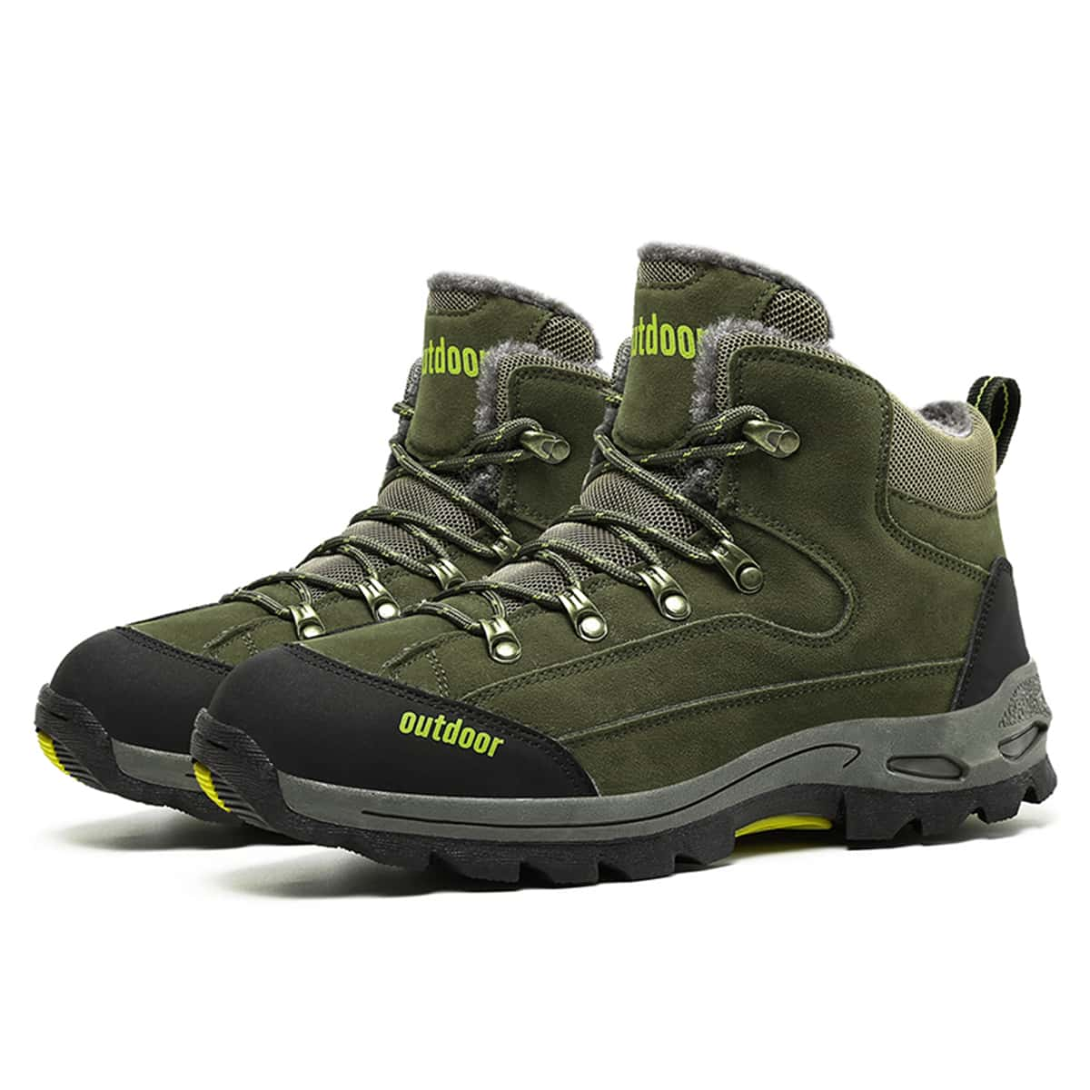 Men Two Tone Letter Graphic Hiking Boots