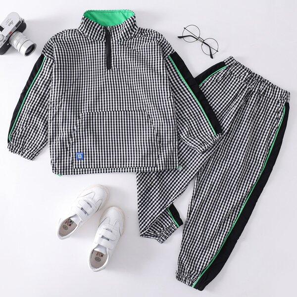 Boys Gingham Print Patch Detail Contrast Side Seam Quarter Zip Sweatshirt & Pants, Black and white