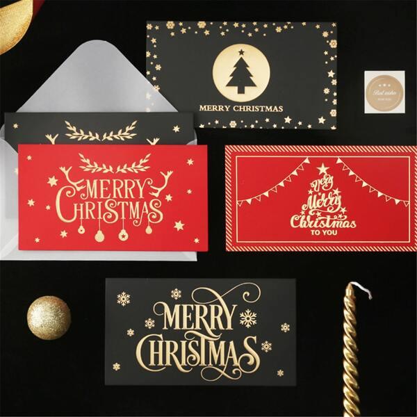 1pc Christmas Print Random Greeting Card, Multicolor