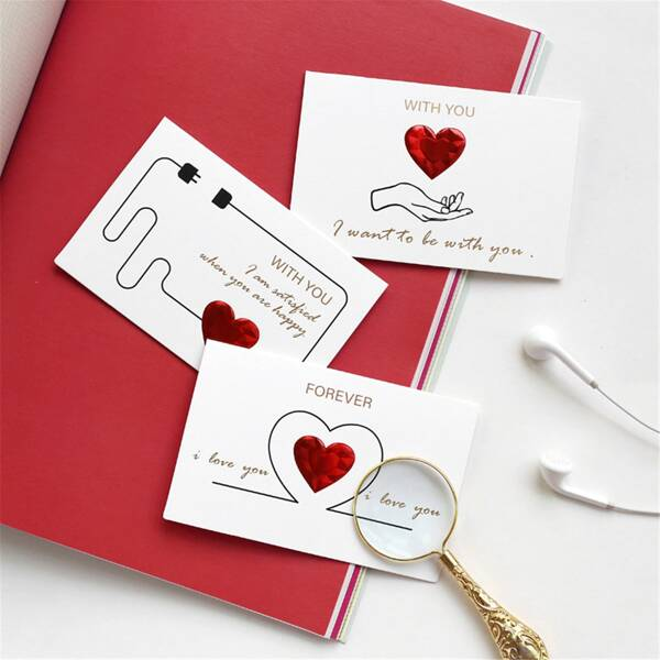 1pc Heart Print Random Greeting Card, Multicolor
