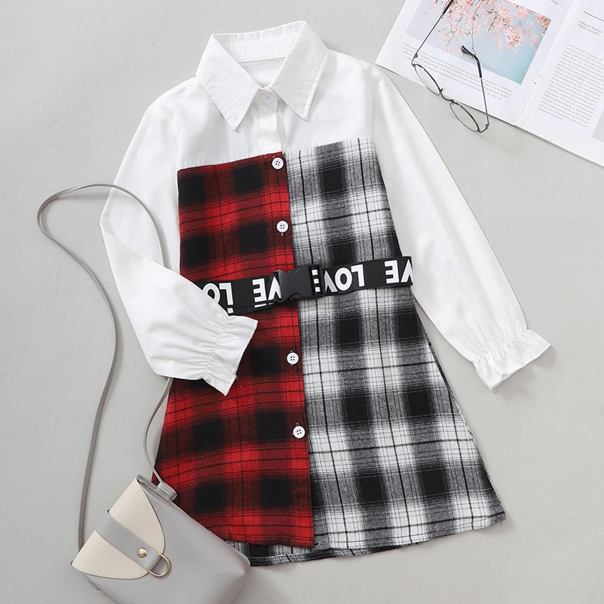 Girls Color-block Plaid Panel Belted Shirt Dress
