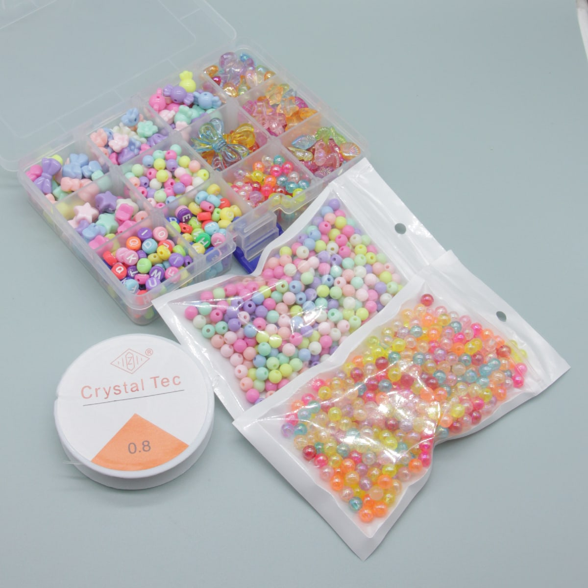 1box Letter Bead & 2packs Bead & 1roll Elastic Thread