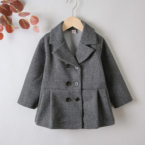 Toddler Boys Lapel Neck Double Breasted Fold Pleated Overcoat, Dark grey