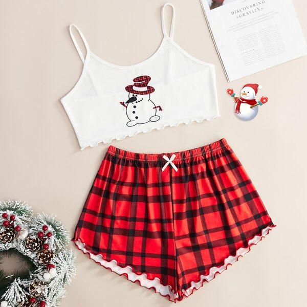 Christmas Print Lettuce Trim Cami Top & Plaid Print Shorts PJ Set, Red and white