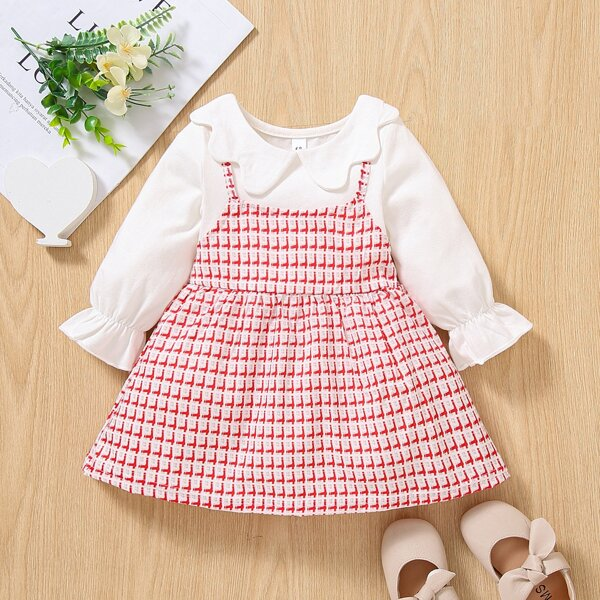 Baby Scallop Peter Pan Collar Flounce Sleeve 2 In 1 Dress, Red and white