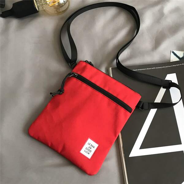 Letter Graphic Crossbody Bag, Red