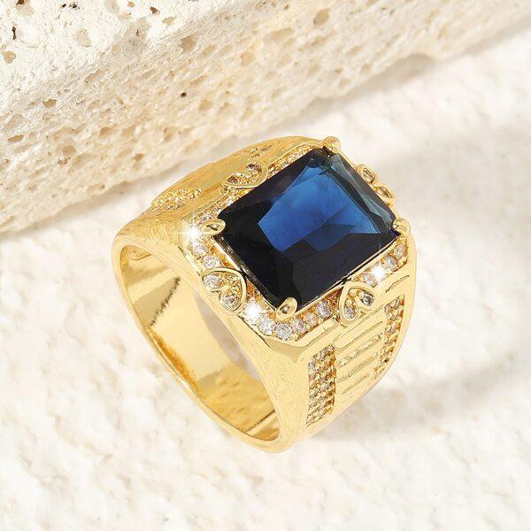 18K Gold Plated Geometric Gemstone Decor Ring, Multicolor