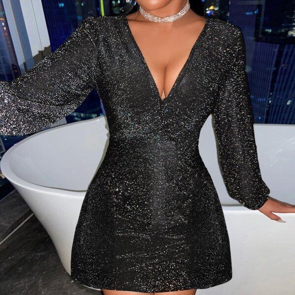 Plunge Neck Bishop Sleeve Glitter Dress, Black