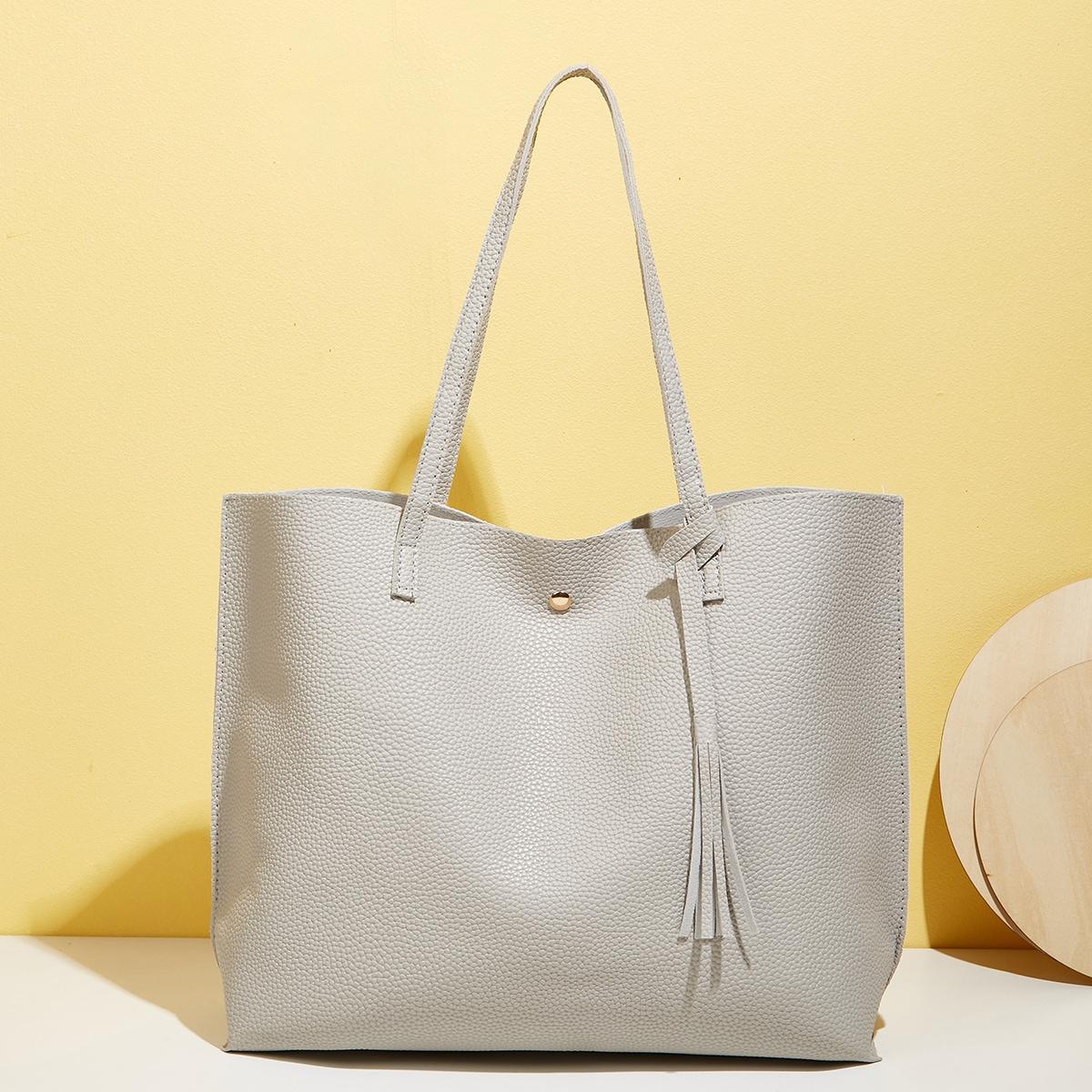 Litchi Embossed Shoulder Tote Bag