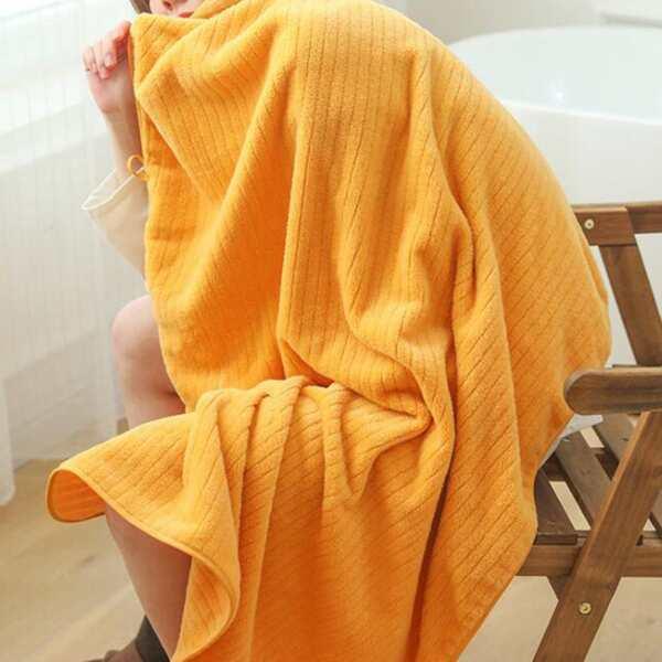 1pc Solid Color Bath Towel, Yellow