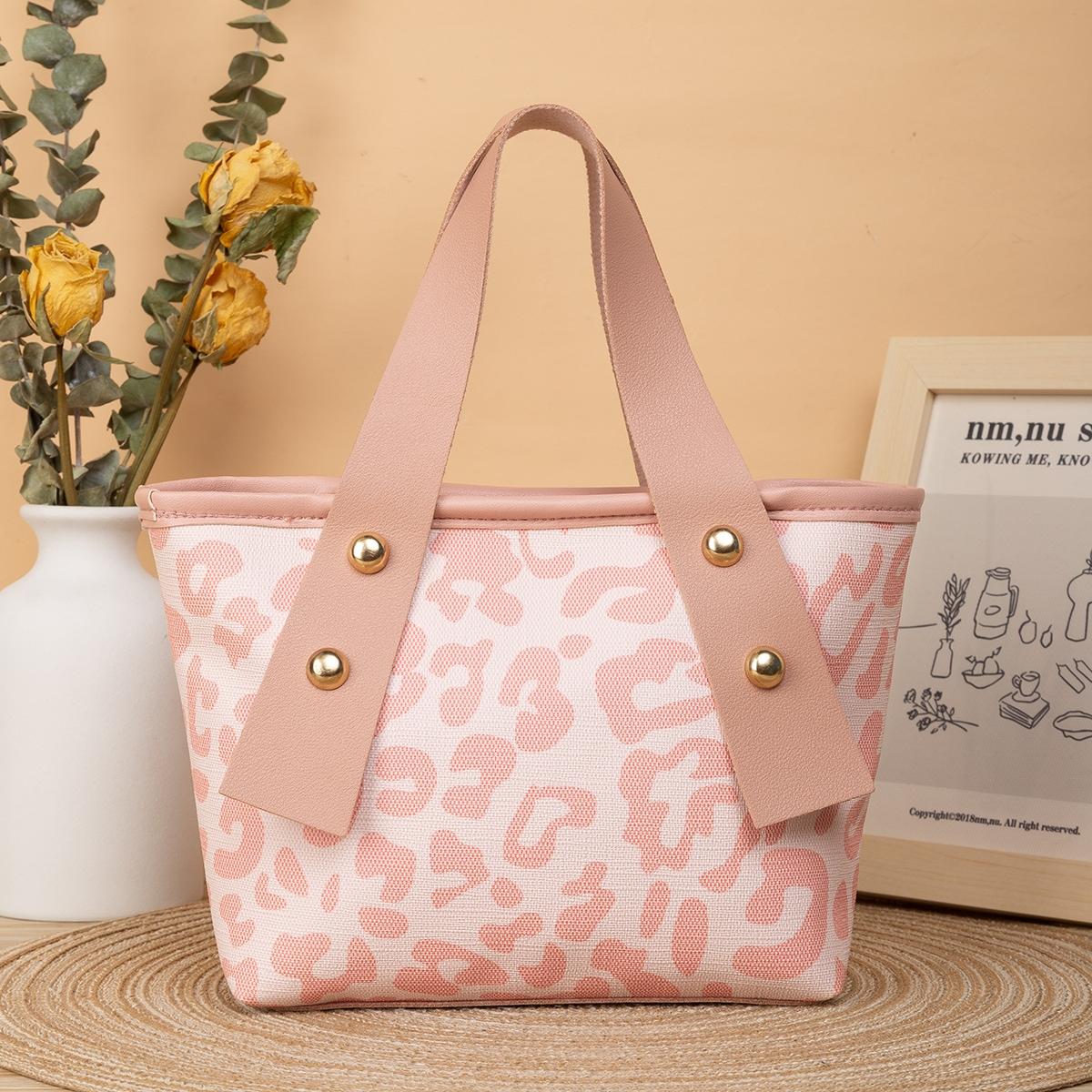 Leopard Studded Decor Bucket Bag