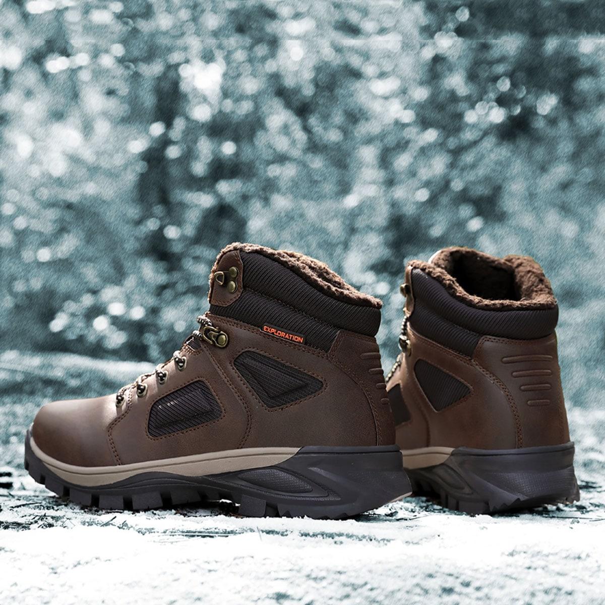Men Minimalist Fuzzy Hiking Boots