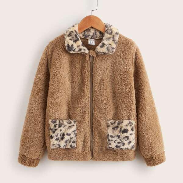 Girls Zip Up Contrast Leopard Panel Teddy Jacket, Brown