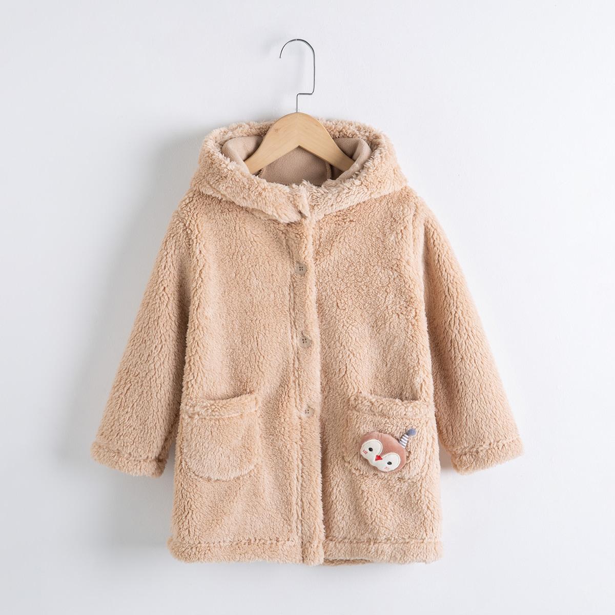 для мальчиков 3D Плюшевое пальто с мультипликационной заплатой с капюшоном