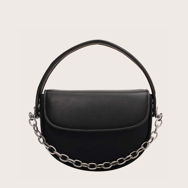 Chain Decor Flap Saddle Bag, Black