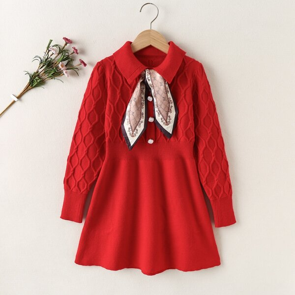 Girls Collared Cable Knit Sweater Dress With Tie, Red
