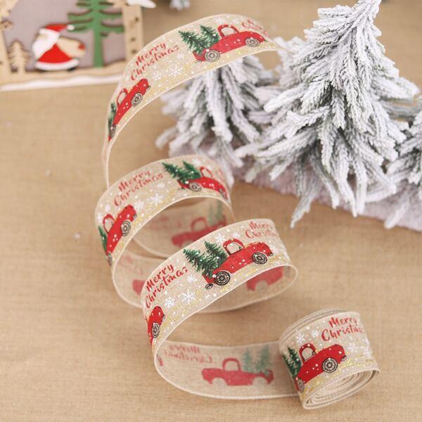 1roll Christmas Print Gift Ribbon, Multicolor
