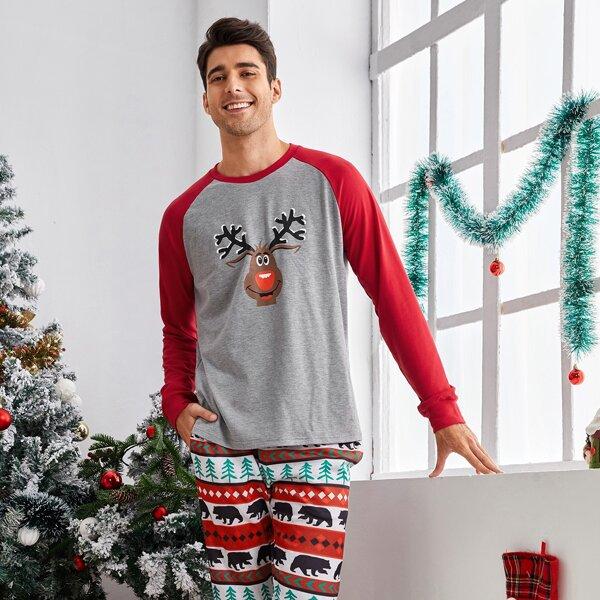 Men Christmas Elk Print Raglan Sleeve Pullover & Bear Print Pants, Multicolor