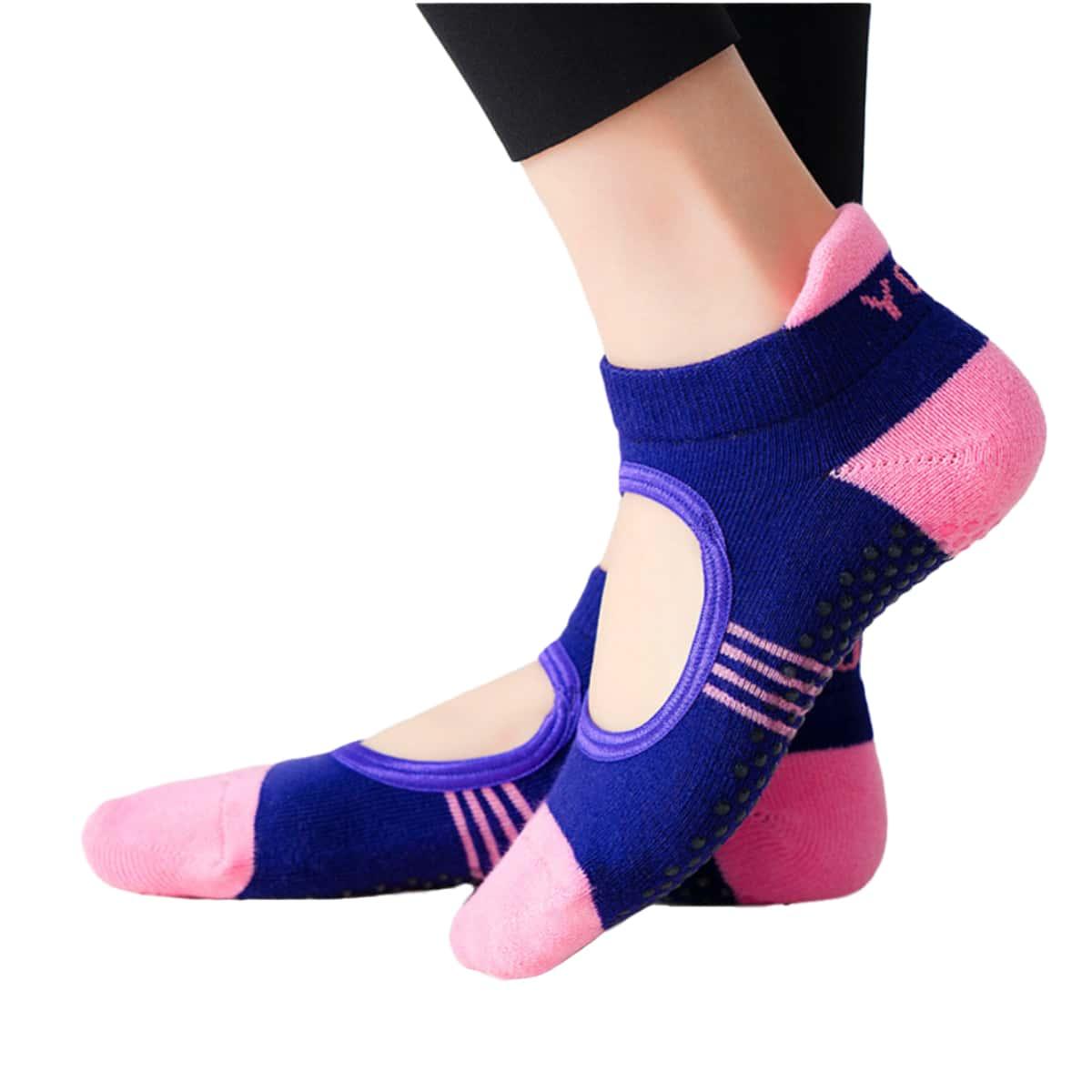 1 пара Носки для йоги с разрезом нескользящий