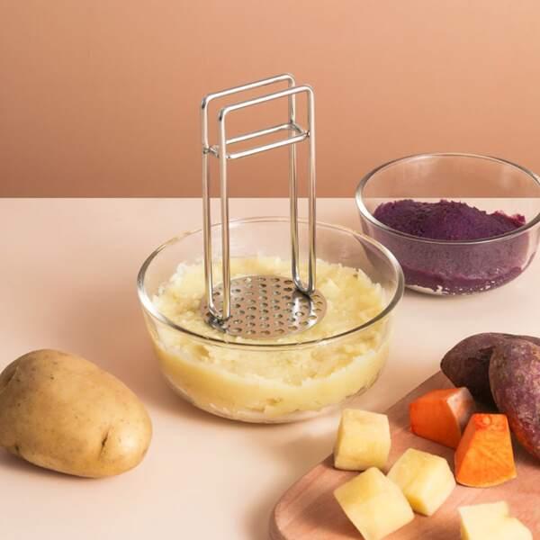 1pc Stainless Steel Potato Masher, Silver