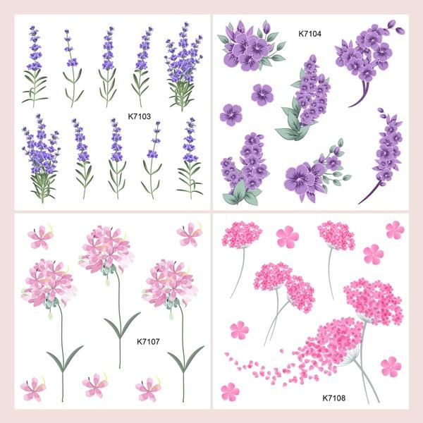 4sheets Flower Pattern Tattoo Sticker, Multicolor