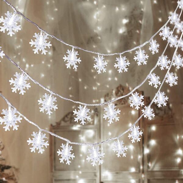 1pc Christmas String Light With 40pcs Snowflake Bulb, White