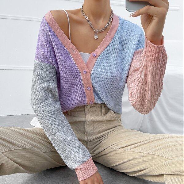Cut And Sew Drop Shoulder Cardigan, Multicolor
