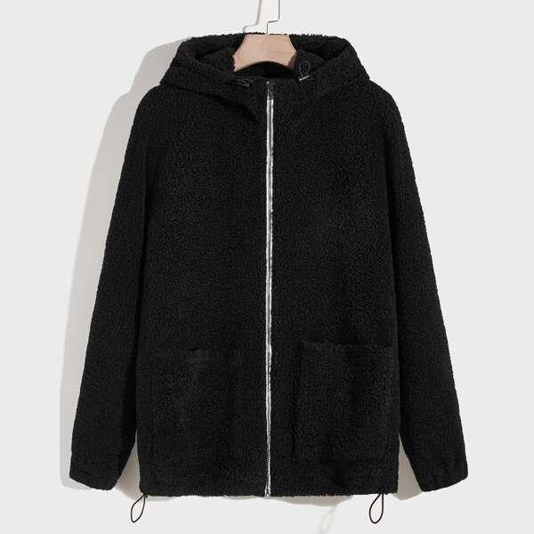 Men Zip Up Hooded Teddy Jacket, Black