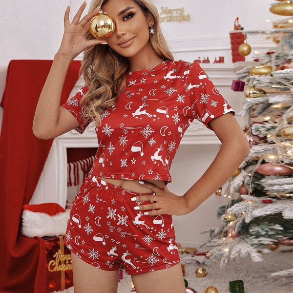Christmas Print Tee & Shorts PJ Set, Red