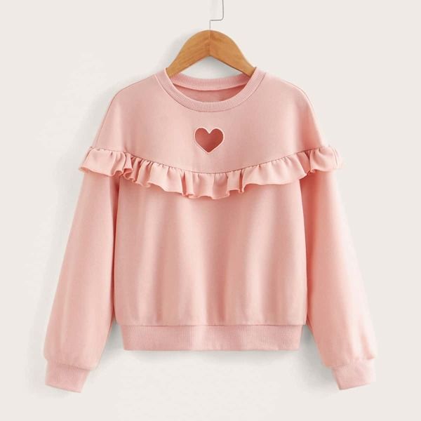 Girls Heart Pattern Peekaboo Ruffle Detail Pullover, Baby pink