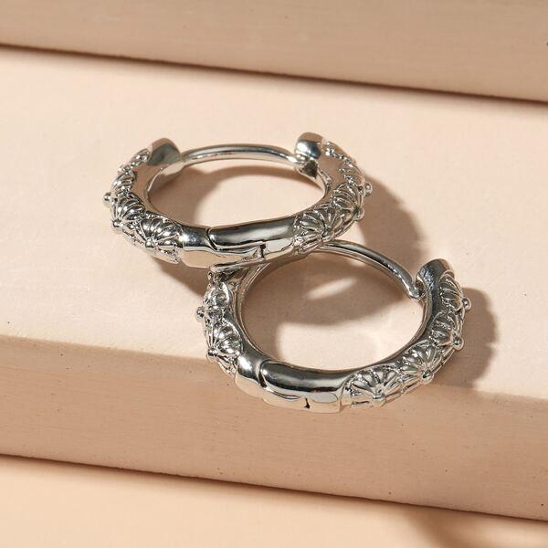 Flower Detail Hoop Earrings, Silver