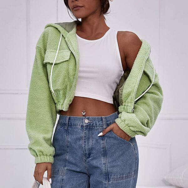 Zip Up Drop Shoulder Drawstring Hooded Crop Teddy Jacket, Green
