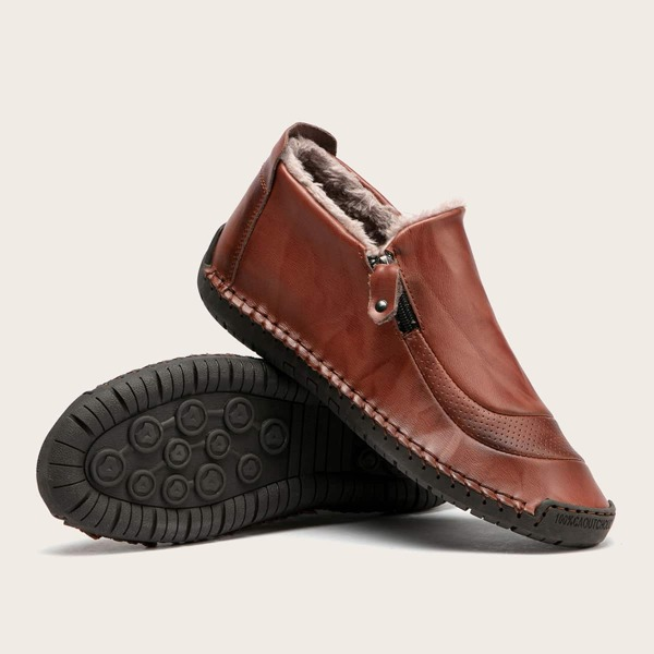 Men Stitch Trim Lace-up Front Loafers, Coffee brown