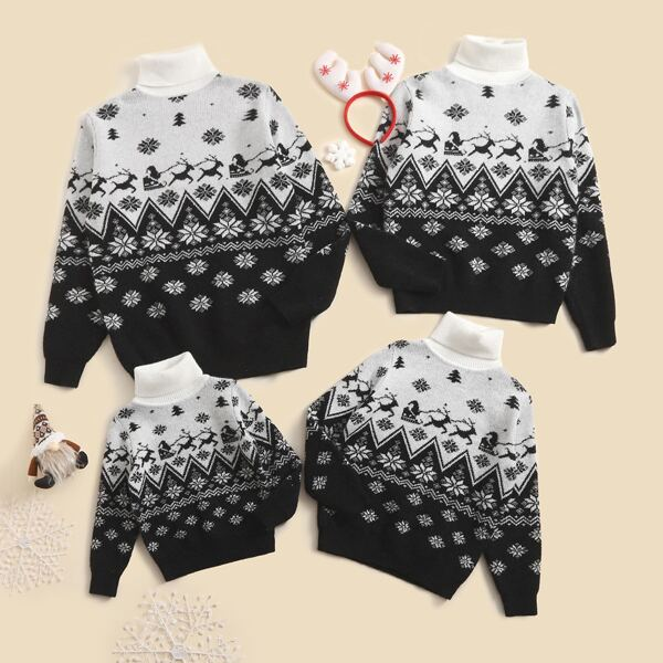 Girls 1pc Christmas Pattern Turtleneck Sweater, Black and white