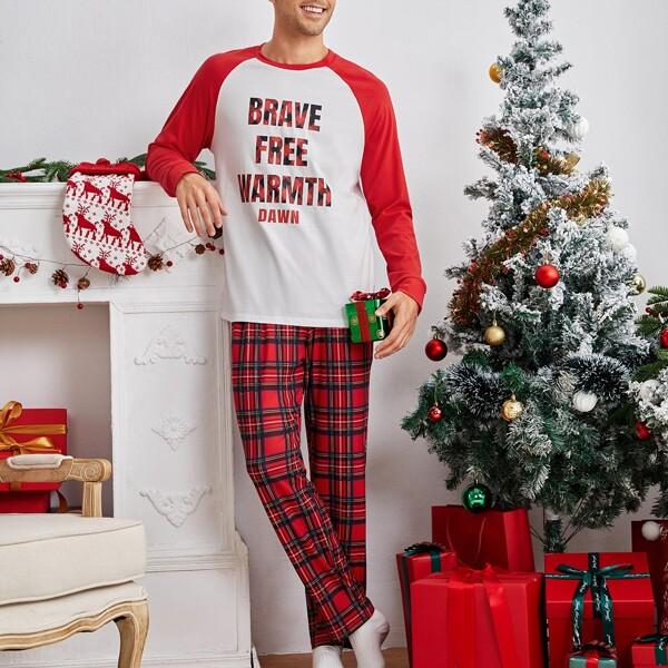 Men Letter Graphic Raglan Sleeve Top & Tartan Print Pants PJ Set, Multicolor