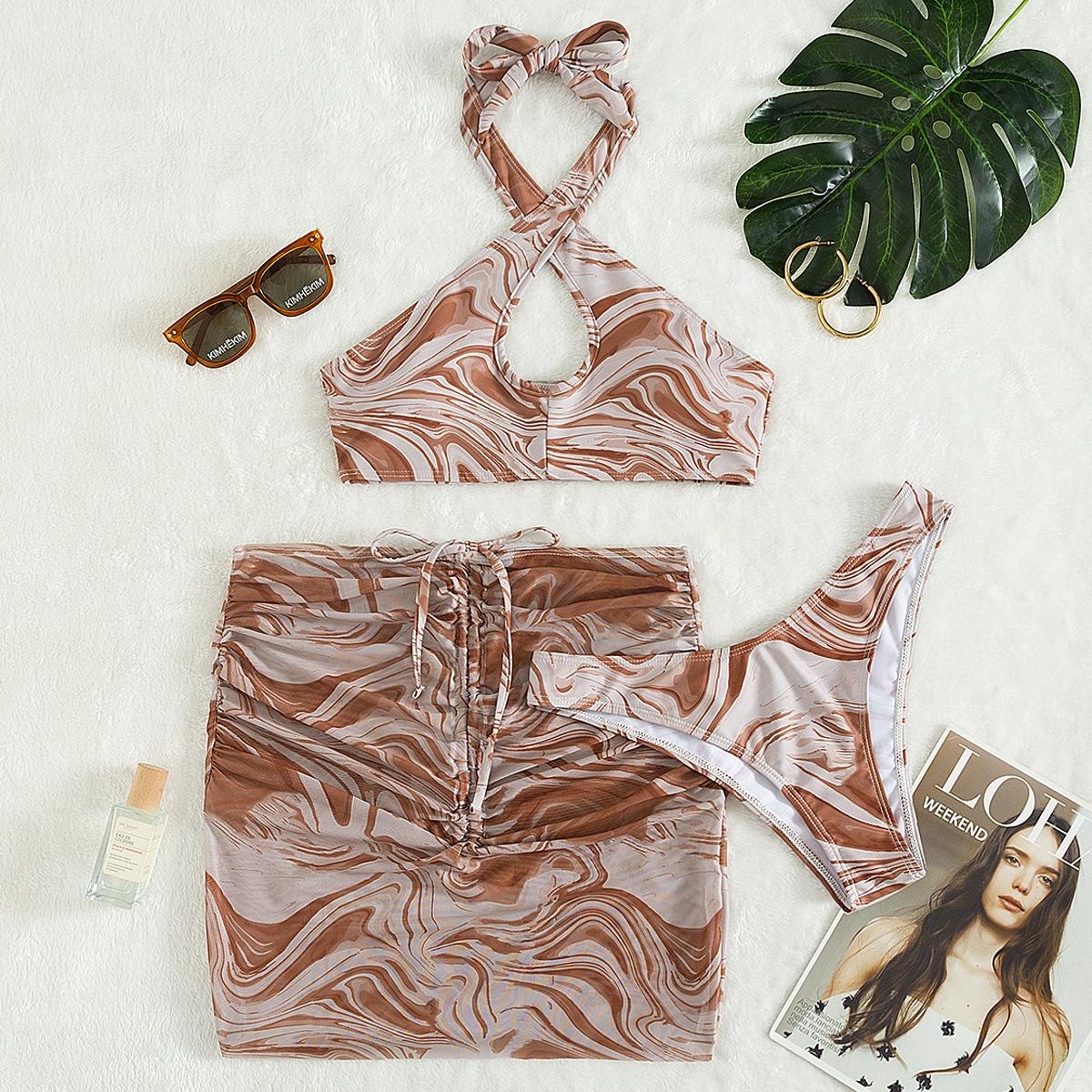 3pack Fluid Pattern Criss Cross Bikini Swimsuit & Beach Skirt