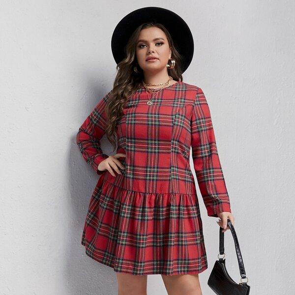 Plus Tartan Ruffle Hem Dress, Multicolor