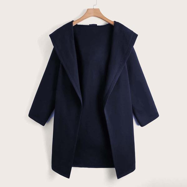 Plus Open Front Hooded Coat, Navy blue