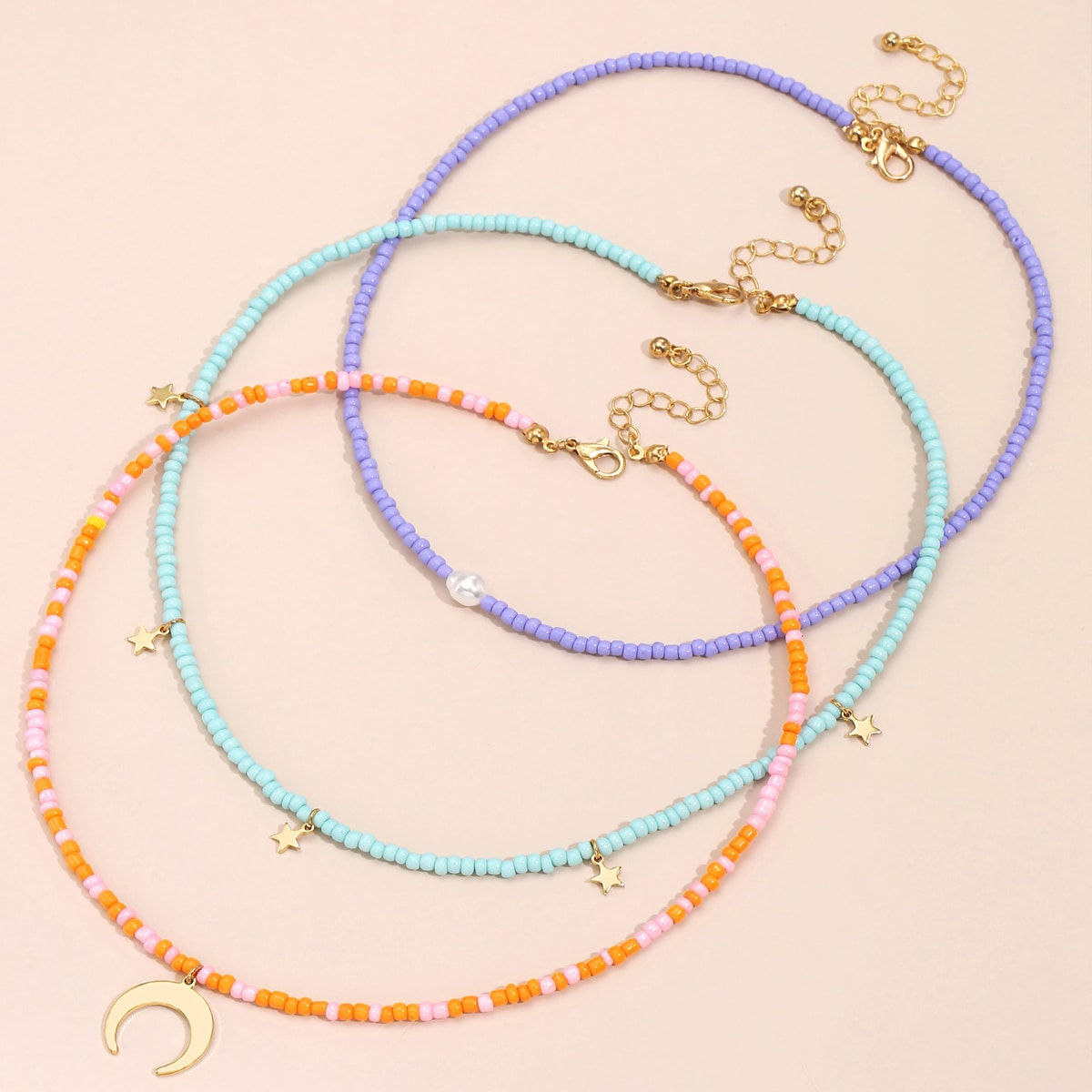 3pcs Beaded Necklace