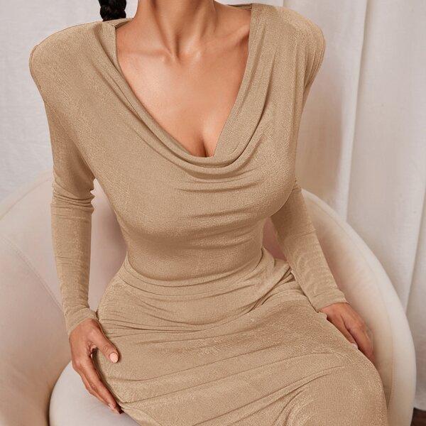 Shoulder Pad Drape Neck Top & Pencil Skirt, Khaki